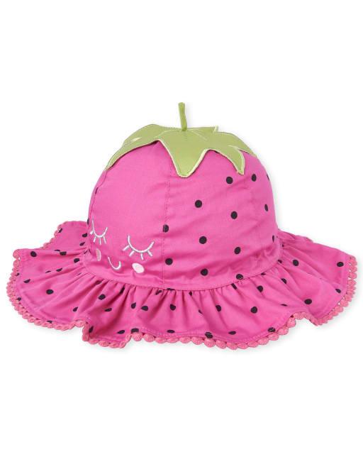 Toddler Girls Embroidered Strawberry Poplin Bucket Hat