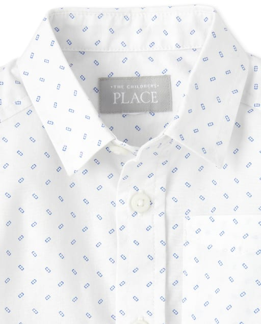 The Childrens Place Boys Baby and Toddler Print Poplin Button Down Shirt