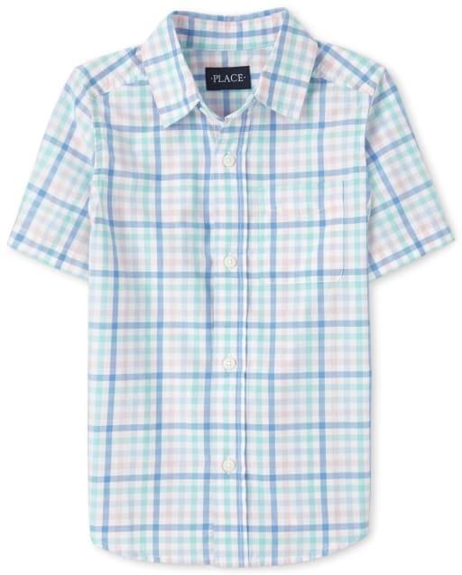 Boys Easter Short Sleeve Plaid Poplin Matching Button Down Shirt