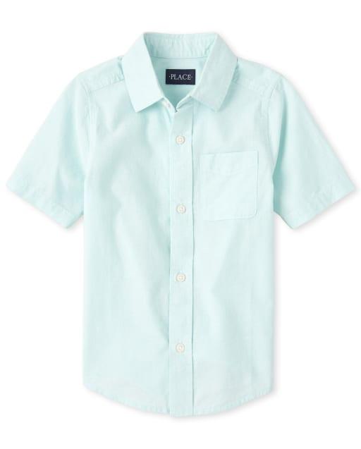 Boys Short Sleeve Poplin Button Down Shirt