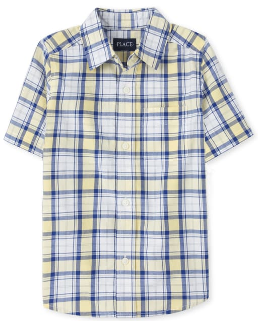 Boys Dad And Me Easter Short Sleeve Plaid Poplin Matching Button Down Shirt