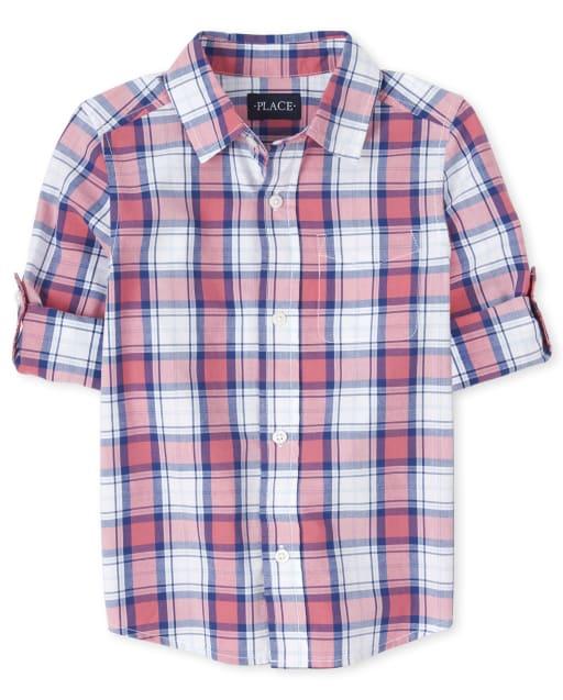 Boys Long Sleeve Plaid Poplin Matching Button Down Shirt