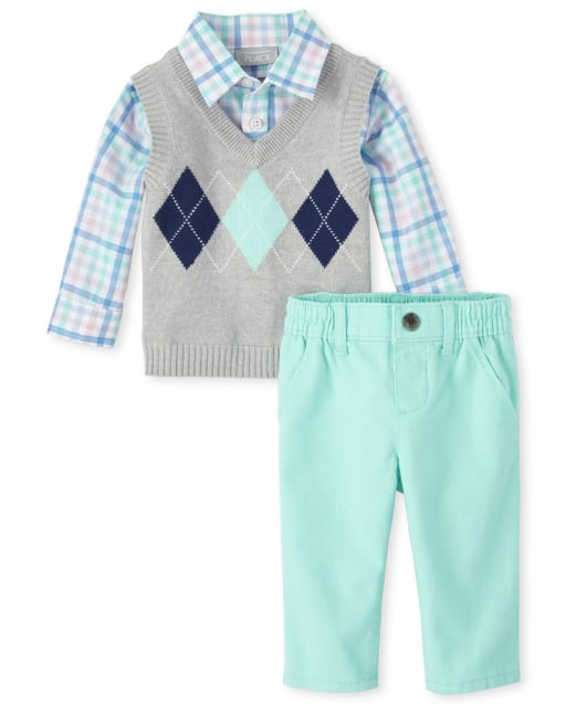 Baby Boys Long Sleeve Argyle And Plaid 2 In 1 Sweater Top And Woven Pull On Chino Pants Matching Outfit Set