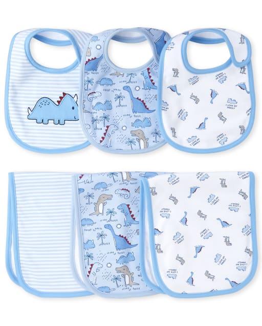 Baby Boys Dino Bib And Burp Cloth 6-Piece Set