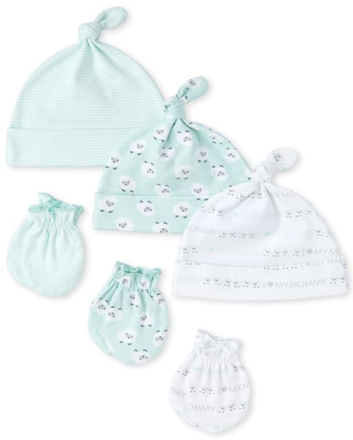 Unisex Baby Sheep Print Knotted Hat And Mittens 6-Piece Set