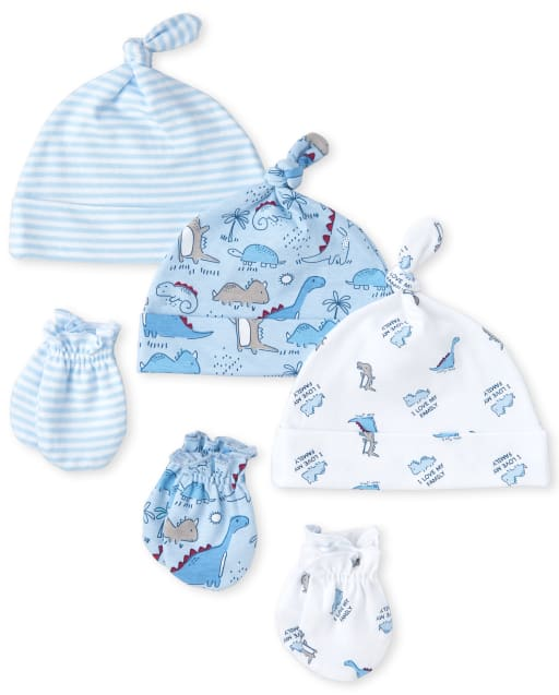Baby Boys Dino Knotted Hat And Mittens 6-Piece Set