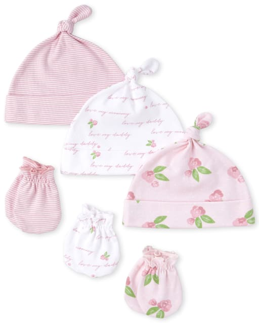 Baby Girls Rose Print Knotted Hat And Mittens 6-Piece Set