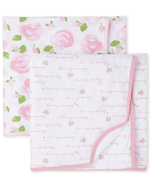 Baby Girls Rose Swaddle Blanket 2-Pack