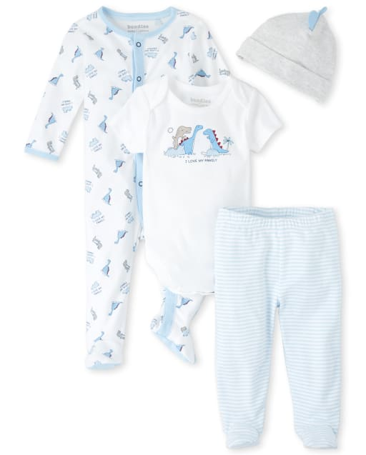 Baby Boys Short Sleeve 'I Love My Family' Dino Graphic Bodysuit Long Sleeve Dino Print Snug Fit Cotton Footed Sleep And Play Striped Footed Pajama Pants And 3D Scales Hat 4-Piece Take Me Home Set