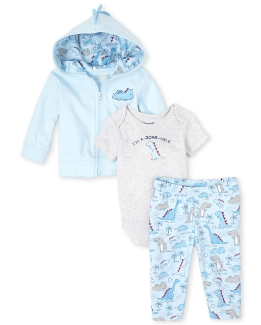 Baby Boys Short Sleeve 'I'm A-Roar-able' Graphic Bodysuit Embroidered Dino Zip Up Hoodie And Dino Print Pants 3-Piece Take Me Home Set