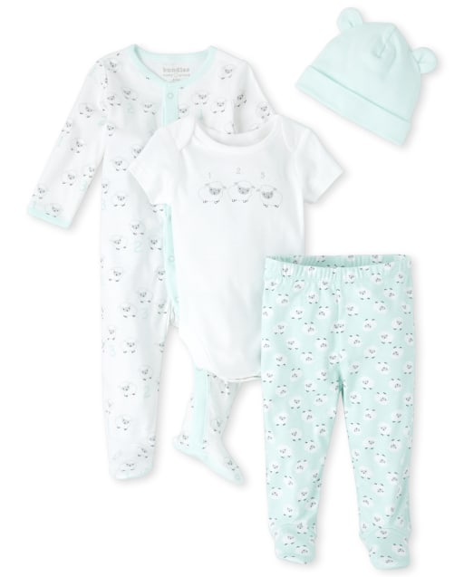 Unisex Baby Long Sleeve Sheep Print Snug Fit Cotton Footed One Piece Sleep And Play Short Sleeve '1 2 3' Sheep Graphic Bodysuit Sheep Print Footed Pajama Pants And Hat 4-Piece Take Me Home Set