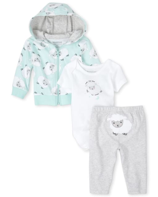 Unisex Baby Short Sleeve 'Over The Moon For Mommy' Graphic Bodysuit Long Sleeve Sheep Print Zip Up Hoodie And Embroidered Sheep Pants 3-Piece Take Me Home Set