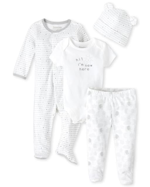 Unisex Baby Long Sleeve Sayings Print Sleep And Play Short Sleeve 'Hi I'm New Here' Graphic Bodysuit Elephant Star Moon And Cloud Print Footed Pants And Sayings Print Ears Hat 4-Piece Take Me Home Set