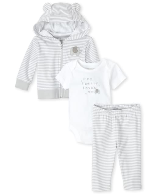 Unisex Baby Embroidered Elephant Striped Zip Up Hoodie Short Sleeve 'My Family Loves Me' Graphic Bodysuit And Striped Pants 3-Piece Take Me Home Set