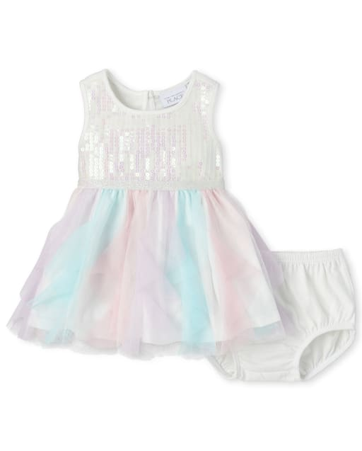 Baby Girls Easter Sleeveless Sequin Knit To Woven Matching Tutu Dress And Bloomers Set