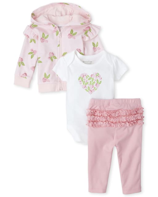 Baby Girls Short Sleeve Rose Graphic Bodysuit Long Ruffle Sleeve Rose Print Zip Up Hoodie And Ruffle Leggings 3-Piece Take Me Home Set