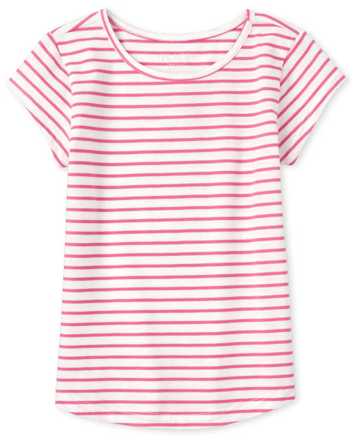 Girls Short Sleeve Striped Basic Layering Tee