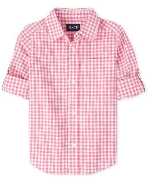Boys Easter Long Sleeve Gingham Poplin Matching Button Down Shirt