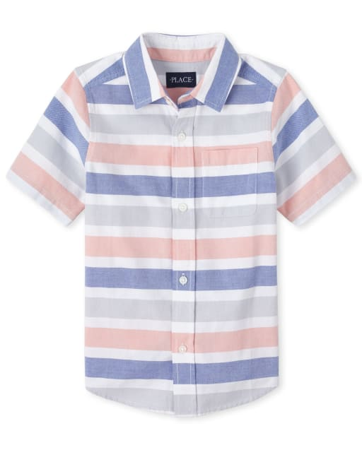 Boys Short Sleeve Striped Oxford Matching Button Down Shirt
