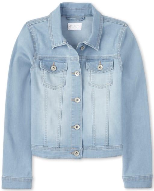 Girls Long Sleeve Soft Stretch Denim Jacket