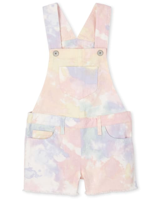 Girls Tie Dye Frayed Hem Denim Matching Shortalls