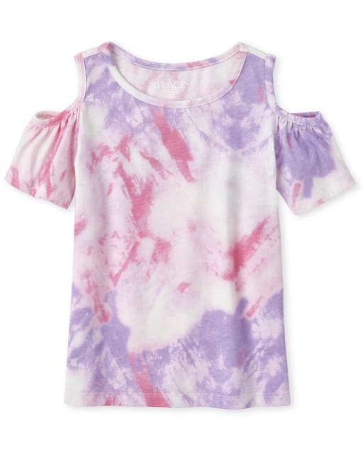 Girls Mix And Match Short Sleeve Print Cold Shoulder Top