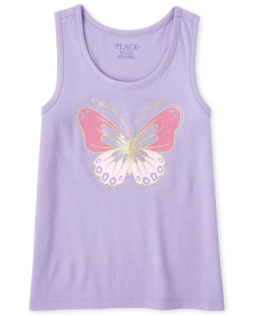 Girls Mix And Match Sleeveless Glitter Graphic Racerback Tank Top