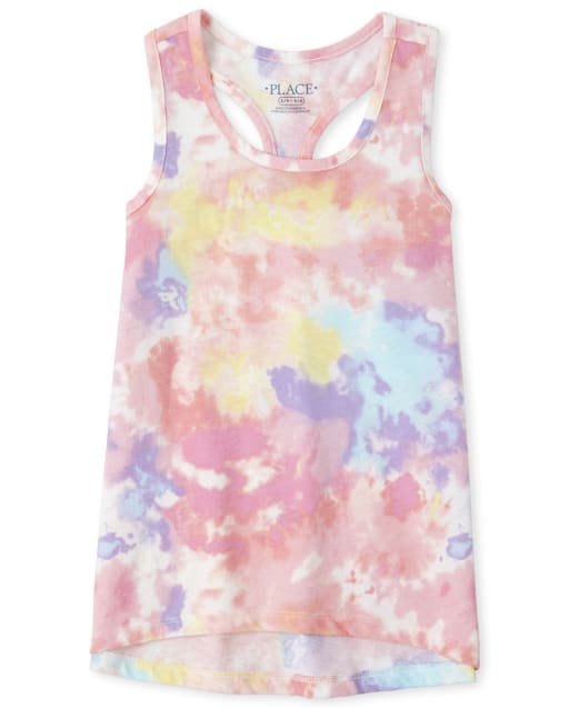 Girls Mix And Match Sleeveless Tie Dye Racerback Tank Top