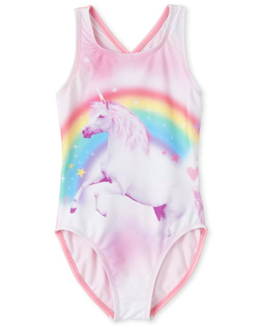 Girls Unicorn Cross Back One Piece Swimsuit