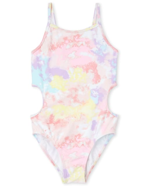Girls Tie Dye Cut Out One Piece Swimsuit