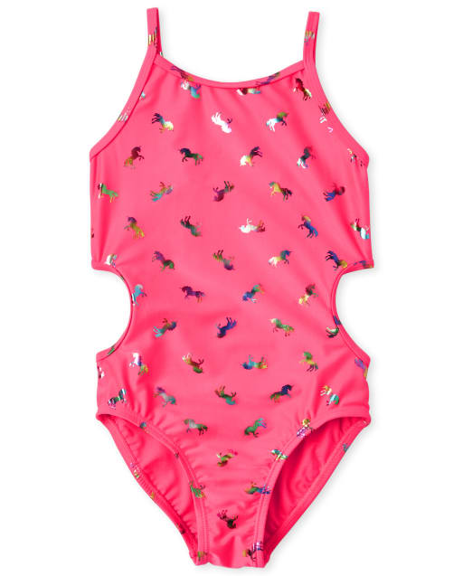 Girls Foil Unicorn Cut Out One Piece Swimsuit