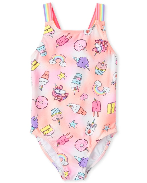 Girls Rainbow Unicorn And Dessert Print One Piece Swimsuit