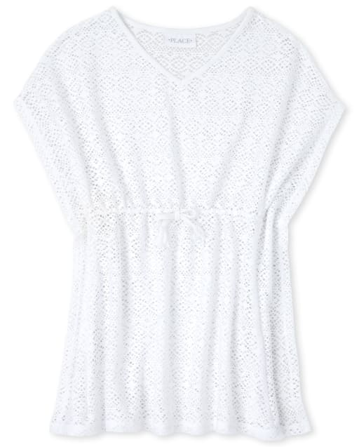 Girls Short Sleeve Lace Cover Up