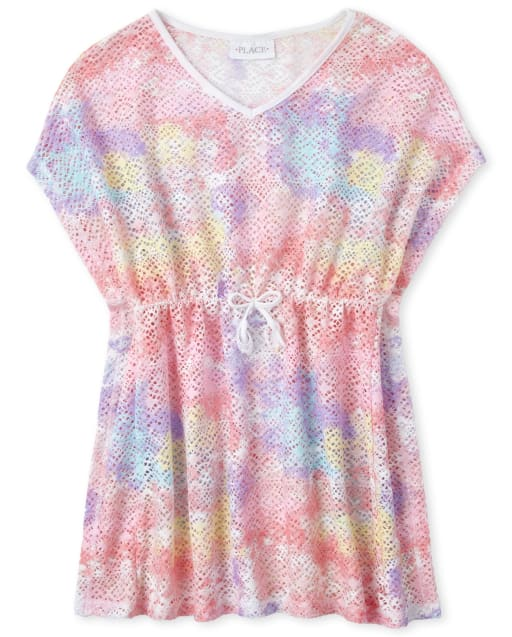 Girls Short Sleeve Tie Dye Lace Cover Up