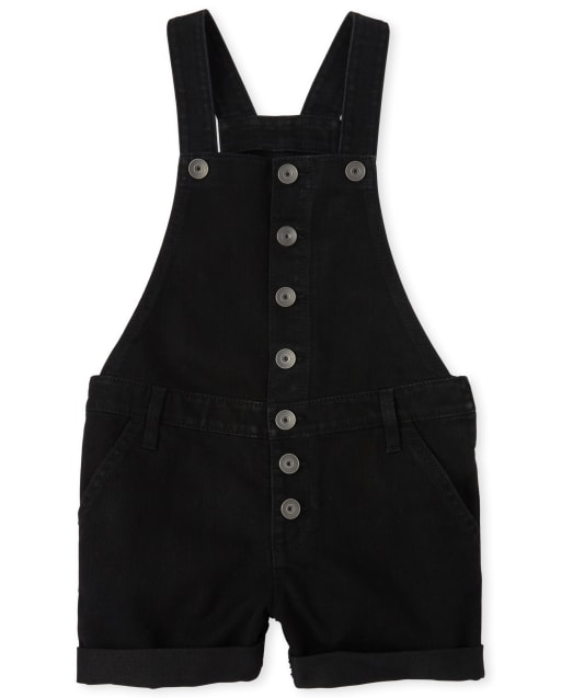 Girls Roll Cuff Denim Shortalls