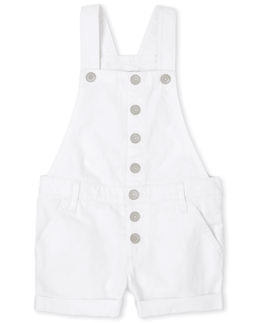 Girls Sleeveless Roll Cuff Denim Shortalls