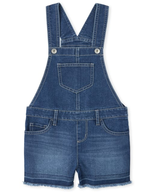 Girls Frayed Hem Denim Shortalls
