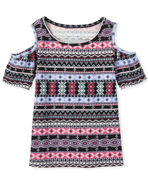 Girls Mix And Match Short Sleeve Fair Isle Print Cold Shoulder Top