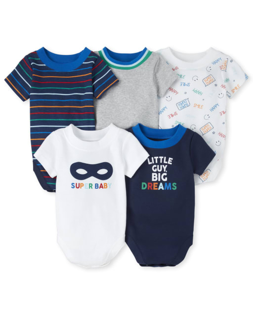 Baby Boys Short Sleeve 'Super Baby' And 'Little Guy Big Dreams' Graphic Bodysuit 5-Pack