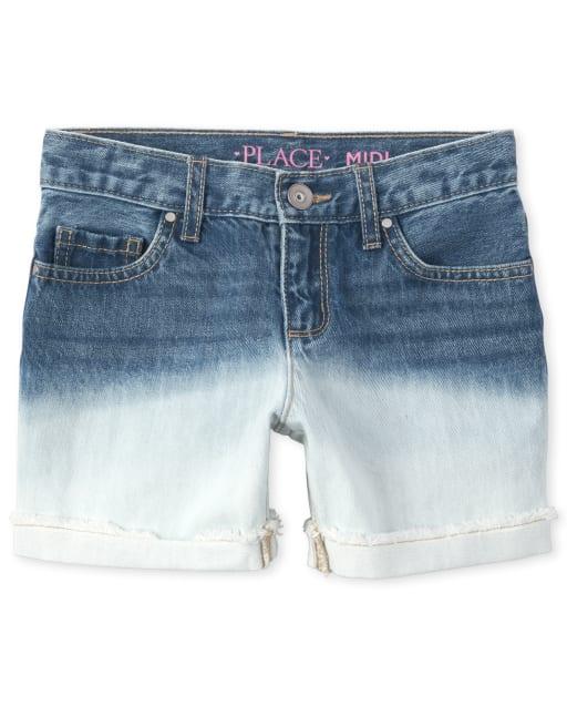 Girls Ombre Roll Cuff Denim Midi Shorts
