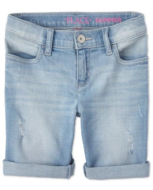 Shorts skimmer de denim desgastados con puños enrollados para niñas