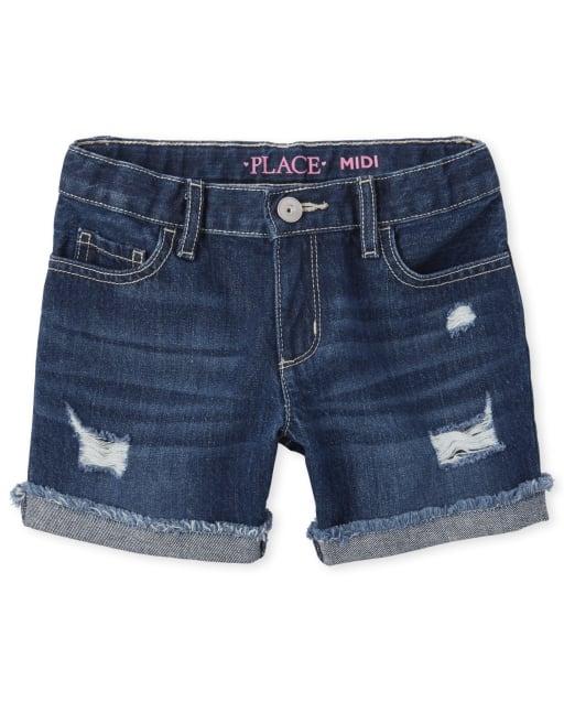 Girls Roll Cuff Distressed Denim Midi Shorts