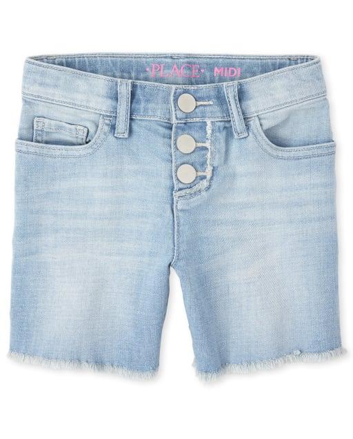 Girls Button Front Frayed Hem Denim Midi Shorts