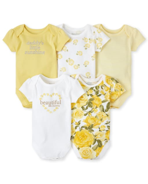 Baby Girls Short Sleeve Glitter 'Beautiful Like Mommy' And 'Daddy's Little Sunshine' Floral Print Graphic Bodysuit 5-Pack