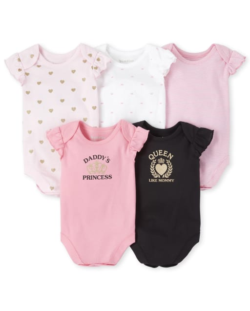 Baby Girls Short Ruffle Sleeve Glitter 'Daddy's Princess ' And 'Queen Like Mommy' Crown Heart And Striped Print Graphic Bodysuit 5-Pack