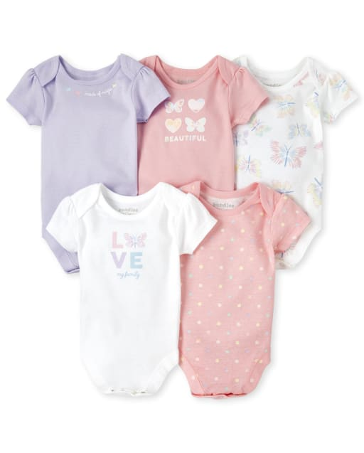 Baby Girls Short Sleeve 'Love My Family' Butterfly Graphic Bodysuit 5-Pack