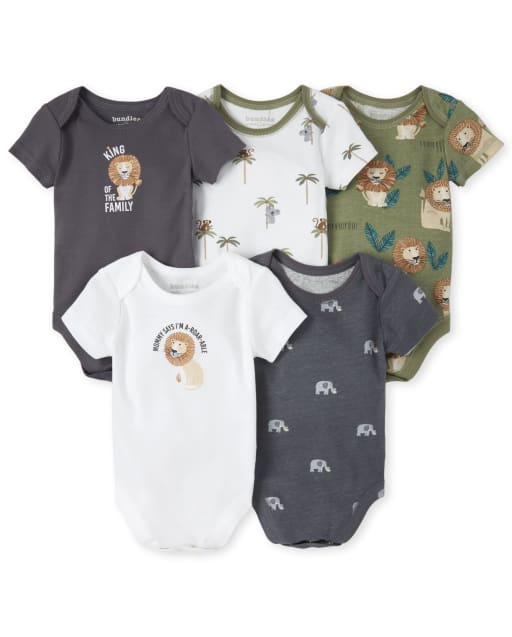 Baby Boys Short Sleeve 'King Of The Family' Jungle Graphic Bodysuit 5-Pack