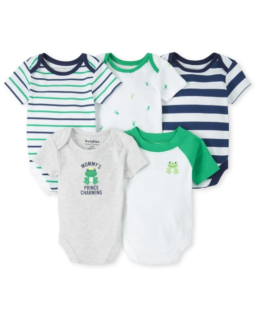 Baby Boys Short Sleeve Frog And Striped Graphic Bodysuit 5-Pack