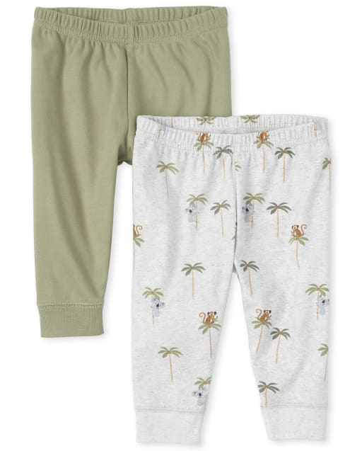 Baby Boys Safari Print Knit Pants 2-Pack