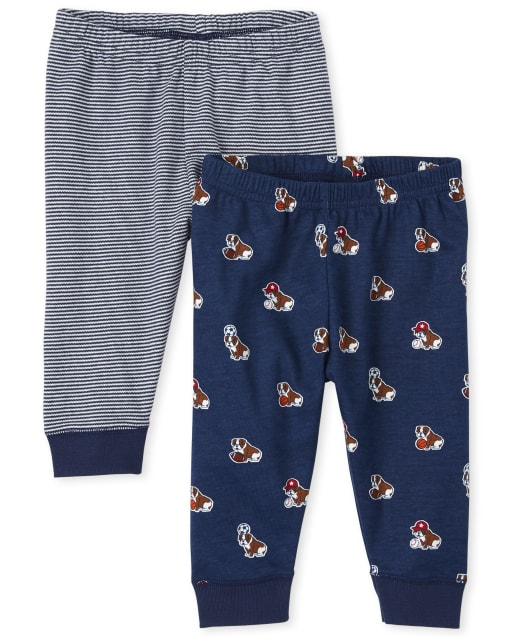 Baby Boys Dog Print And Striped Knit Jogger Pants 2-Pack